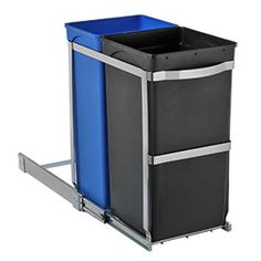 """simplehuman® 2-Bin Pull-Out Recycler  $ 69.00 attach to existing cabinets  Add our 9.2 gal. 2-Bin Pull-Out Recycler by simplehuman® in a lower kitchen cabinet for a space-saving, easy-to-use solution to collect and sort recyclables. It slides out 16"""" from the cabinet for complete access.     Commercial-grade steel frame and ball bearings  Removable polypropylene bins  Fits most lower cabinets"""