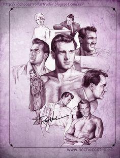 "Rock Hudson, illustration from the book ""Hombres de Hollywood"".Nacho Castro.Diábolo ediciones"