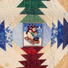 Snowmen Quilt with Pineapple Blocks - Wall Hanging