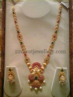 Jewellery Designs: Peacock Uncut Ruby Haar 69gms