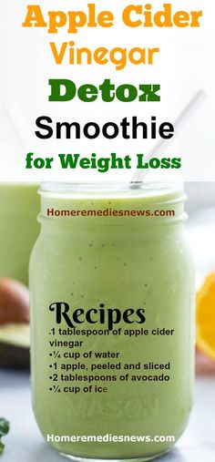 Apple Cider Vinegar Detox Smoothie- Not all apple cider vinegar detox drink for weight loss has to be in juice form. Some come in form of smoothies. This recipe is very tasty. It promotes weight loss and also has many health benefits. Best weight loss detox drink 4 ingredients for burning belly fat and gut cleansing.