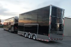 Custom Stacker Trailer with Full Bathroom, Fold Down Rollover Sleeper Sofas, TV, and many other great features makes this a must see stacker trailer. Trailers For Sale, Trailer Sales, Rv Trailers, Rv Truck, Trucks, Gmc Motorhome, Luxury Bus, Bus Living, Trailer Build