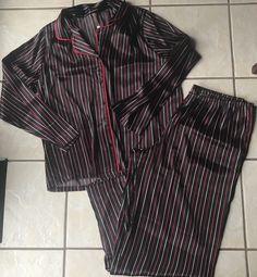 Gilligan & O'Malley Black Red Pink Stripe Satin 2 Pc Pajama Top Pants Set L Euc #GilliganOMalley #PajamaSets #GlamourEveryday