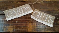 Gifts and Cards Burlap and Lace Signs, Rustic Wedding Decor, Gift and Cards Table Banner, Shower Decor, Reception Banner