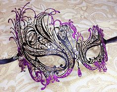 Black Laser Cut Venetian Masquerade Mask with Rhinestones, Purple Glitter Lining - Made of Handcrafted Metal For Halloween and Masquerades