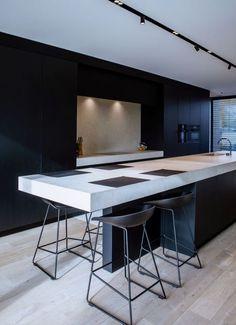 Kitchen by Foca - Residence FM in Belgium Best Kitchen Designs, Modern Kitchen Design, Interior Design Living Room, Home Decor Kitchen, Kitchen Living, New Kitchen, Black Kitchens, Cool Kitchens, Kitchen Island Bench