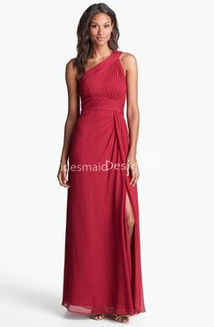 red chiffon draped one shoulder sleeveless long split a-line #bridesmaid #dress US$ 305.00 off US$169.00