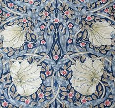 Pair of lined curtains in William Morris Pimpernel blue design. Size: 190 cm x 137 cm. Made in England using Morris & Co. Blue Lined Curtains, Pleated Curtains, William Morris Wallpaper, Morris Wallpapers, Family Dining Rooms, Living Room, Sanderson Fabric, Upholstery Fabric For Chairs, Blue Design