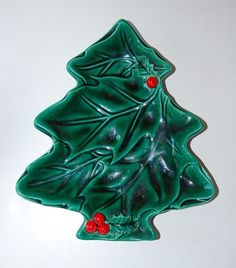 Lefton Christmas Tree Candy Dish Japan Green Holly Red Berries FREE SHIP  #Lefton