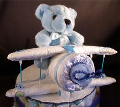 Baby Shower Diaper Cake Airplane Topper