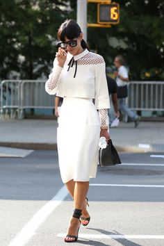 I love this clean white-on-white look with the modern twist of mesh panels. The collar and contrast tie also add a feminine touch. x