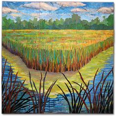 "Sue Benner, artistic quilts, from her ""Landscape"" series... (this is ""Wisconsin Wetlands"", but I see Marshland from the Georgia Coastal Area!)  beautiful."