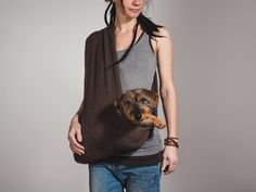 Dog sling SMALL Summer/ winter Wool brown by care4dogs on Etsy