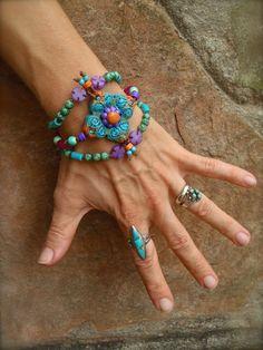 BOHO CHIC shanti BRACELET statement bracelet 3 stand by GPyoga #turquoise
