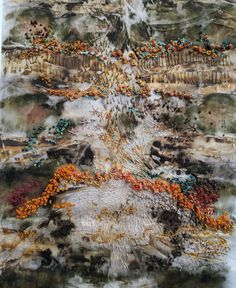 Rust and Revive 2 : Hannah Rae. Eco and rust printed silk with hand embroidered French knots in silk and cotton threads Textiles Techniques, Art Techniques, Textile Artists, New Artists, Free Motion Embroidery, Sashiko Embroidery, Japanese Embroidery, Flower Embroidery, Embroidered Flowers