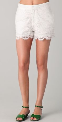 These little lace shorts are too sweet.  A steal, $98 from Madewell