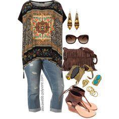 Camiseta tipo túnica con estampado marroquí y jeans boyfriend tobilleros by alexawebb on Polyvore (Plus size)