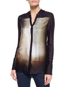 Long-Sleeve Scarf-Print Silk Shirt, Size: 6, Black Illuminated - Halston Heritage