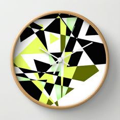 Mountain Trails Wall Clock by Vikki Salmela - $30.00 #new #wall #clocks from #Society6! #Contemporary #modern #graphic #triangle #art in #green #black #white for #kitchen #home #studio #office #gift. #Free #shipping through #Sunday.