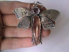 Victorian Large Silver Amethyst Citrine Butterfly Brooch