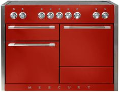 AGA AMC48INSCR 48 Inch Electric Induction Range with 3 Ovens, 6.0 cu. ft. Total Capacity, 5 Induction Heating Elements, 7 Cooking Modes, True European Convection, Glide Out Broiler System, Hi-Fi Knob Controls, Storage Drawer and EasyClean Technology: Scarlet
