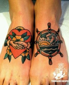old school style foot tattoos