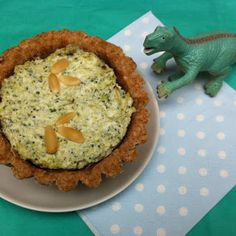 Dinosaur quiche. healthy and light quiche with broccoli, ricotta and pine nuts. Kids Food