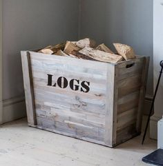 firewood storage indoor fireplace wood photo 7 of box go Indoor Log Storage, Diy Storage Bed, Wood Storage Box, Art Storage, Diy Kitchen Storage, Home Office Storage, Storage Baskets, Storage Ideas, Range Buche
