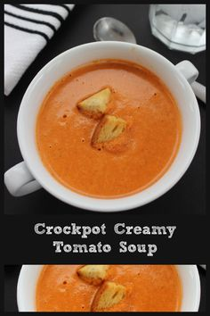 Make this easy creamy crockpot tomato soup recipe in the crockpot or on the stovetop. The perfect recipe for a rainy day (especially if you pair it with a grilled cheese!) #crockpotrecipes #slowcooker #souprecipes #easyrecipes