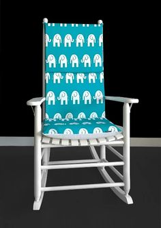 Turquoise Elephants Rocking Chair Covers, Kids Nursery Cover And Inserts | affordable, designer, custom, handmade, trendy, fashionable, locally made, high quality Rocking Chair Covers, Rocking Chair Cushions, Ikea Kids Room, Chair Cushion Covers, Kids Room Organization, Kids Room Design, Elephant Print, Slipcovers For Chairs, Elephants