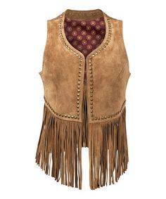 Love this Tan Wing Fringe Leather Vest - Women on #zulily! #zulilyfinds