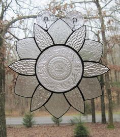 Stained Glass Panel Clear Daisy Design with by CartersStainedGlass, $55.00