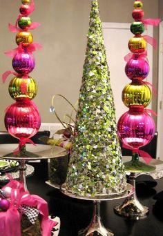 Super Easy DIY Christmas Decor Ideas - Bauble Christmas Trees - Click Pic for 25 Christmas Craft Ideas