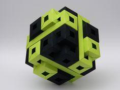 Twelve Interlocking Square Prisms