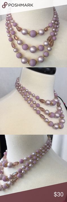 "Vintage Lavender Faux Pearl Necklace Gorgeous vintage three strand necklace.  Shades of Lavender faux Pearls and cut glass beads.  Hang length of approx. 7 3/4"".  Marked Japan Japan Jewelry Necklaces"