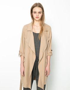 Bershka tencel trench coat - Woman - Bershka Czech Republic