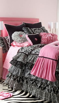 Shop luxury bedding sets and bedding collections at Horchow. Browse our incredible selection of full, queen, and king size luxury bedding sets. Luxury Duvet Covers, Luxury Bedding Sets, Teen Girl Bedrooms, Little Girl Rooms, Zebra Bedrooms, Pink And Black Bedding, Pink Black, Black Comforter, Comforter Set