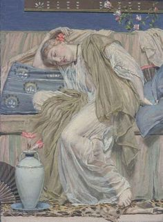 """A Sleeping Girl"" by Albert Joseph Moore"