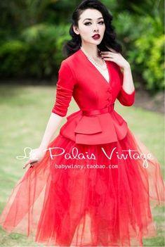 Le Palais Vintage: Retro Red Waist Coat, Shorts & Tutu Skirt: Three Pieces (XS - XXL)