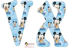 Festa Mickey Baby, Mickey E Minnie Mouse, Mickey Party, Disney Fun, Baby Disney, Alfabeto Disney, Mickey Baby Showers, Baby Letters, Baby Mouse