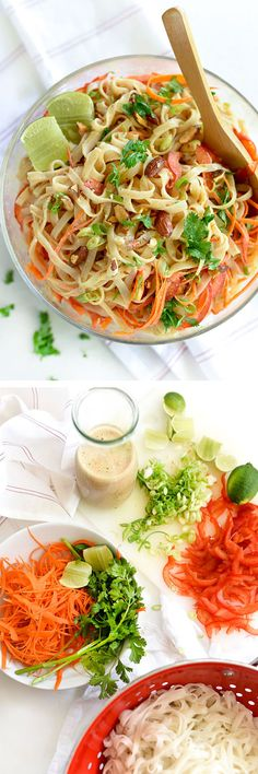 I shook things up by subbing Almond Breeze Almondmilk Coconutmilk, clocking in at 60 calories per cup, for canned coconut milk that weighs in at 360 calories per cup in the dressing for this cold noodle salad. My stretchy pants are thanking me. Asian Recipes, Healthy Recipes, Clean Eating, Healthy Eating, Pasta, Soup And Salad, Coconut Milk, Thai Coconut, I Love Food