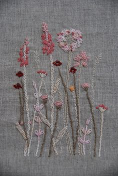 Pretty pink blossom embroidery on linen