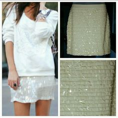 HPCream sequin skirt! Gorgeous cream rectangle sequins skirt. Dress it up with heels, and a fun top or dress it down with boots, a t-shirt and sports blazer!  NEW no tag, never been worn. Cream elastic waist band Shell 100% polyester  Lining 100% viscose (Model not wearing actual skirt) Joe Fresh Skirts