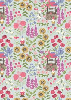 Gnomes Garden Light Blue - Cotton #sew #dressmaking #fabric  #making #material #sewing #quilting #patchwork #sewists #gnomes