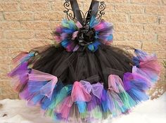 BLACK WITH COLORS. Petti Tutu Dress.  Pageant Wear.  by ElsaSieron