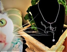 Cat, Necklace, grandmother gift,wife gift,friend gift,cat lovers gift,Dog lovers gift,PAW jewelry,holiday gift ideas,pet lover, cat jewelry