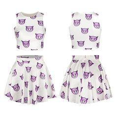 #emojiskirt #emojidress #setskirt Cfanny Women's Emoji Digital Print Crop Tank Top Skater Skirt 2 Pieces Set Dress http://amzn.to/28XMs2V