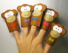 5 Little Monkeys - Finger Puppets Set, Soft Felt Animal Toy, for  kids childrens baby. $24.00, via Etsy.