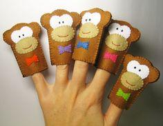 5 Little Monkeys - Finger Puppets Set, Soft Felt Animal Toy, for  kids childrens baby. $24.00, via Etsy.