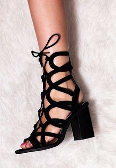 ELQUI+Lace+Up+Block+Heel+Gladiator+Sandals+Shoes+-+Black
